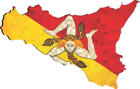 Grunge Sicily map with flag inside - Illustration, The head of the Gorgon Medusa