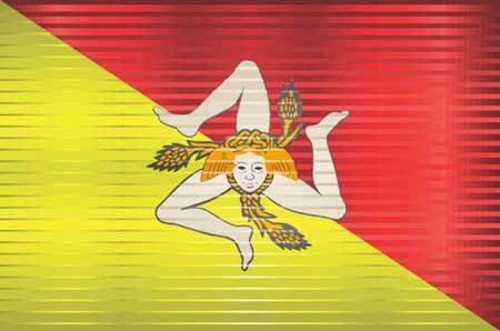 Shiny Grunge flag of the Sicily - Illustration, Three dimensional flag of Sicily