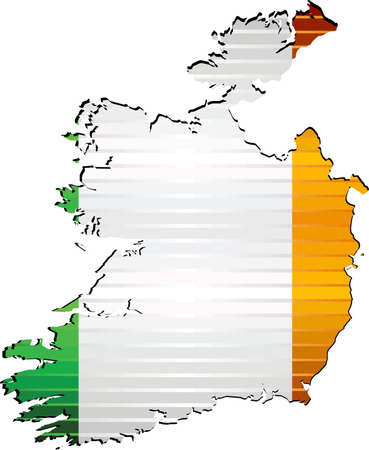 Shiny Grunge map of the Ireland - Illustration,  Three Dimensional Map of Ireland