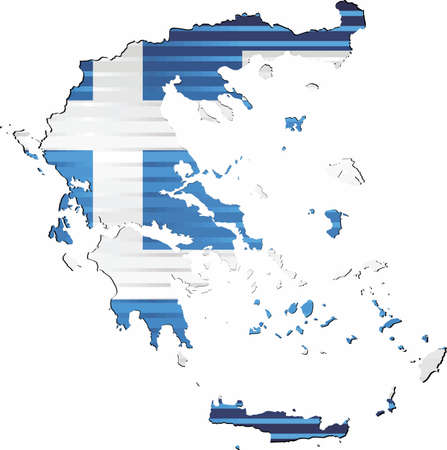 Shiny Grunge map of the Greece - Illustration,  Three Dimensional Map of Greece Çizim