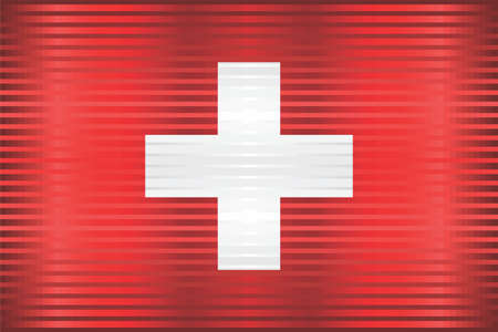 Shiny Grunge flag of the Switzerland - Illustration,  Three dimensional flag of Switzerland Çizim