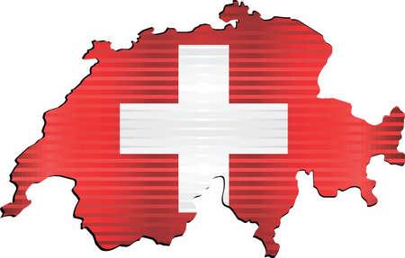 Shiny Grunge map of the Switzerland - Illustration, Three Dimensional Map of Switzerland
