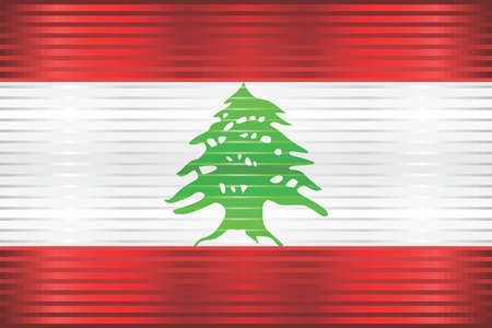 Shiny Grunge flag of the Lebanon - Illustration,  Three dimensional flag of Lebanon