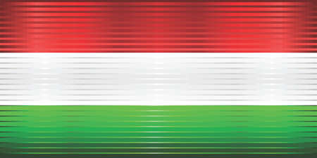 Shiny Grunge flag of the Hungary - Illustration,  Three dimensional flag of Hungary Çizim