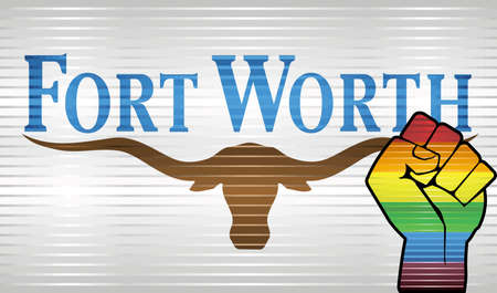 Shiny Grunge Fort Worth and Gay flags - Illustration, Abstract grunge Fort Worth Flag and LGBT flag