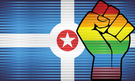Shiny LGBT Protest Fist on a Indianapolis Flag - Illustration, Abstract grunge Indianapolis Flag and LGBT flag