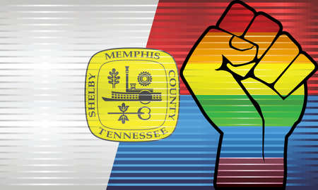 Shiny LGBT Protest Fist on a Memphis Flag - Illustration, Abstract grunge Memphis Flag and LGBT flag