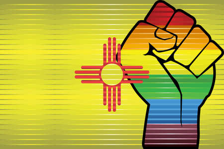 Shiny LGBT Protest Fist on a New Mexico Flag - Illustration, Abstract grunge New Mexico Flag and LGBT flag