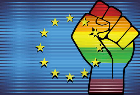 Shiny LGBT Protest Fist on a European Union Flag - Illustration,  Abstract grunge European Union Flag and LGBT flag Ilustrace