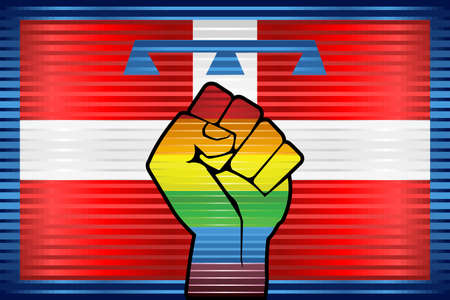 Shiny LGBT Protest Fist on a Piedmont Flag - Illustration,  Abstract grunge Piedmont Flag and LGBT flag
