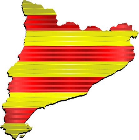 Shiny Grunge map of the Catalonia - Illustration,  Three Dimensional Map of Catalonia