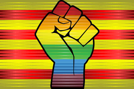 Shiny LGBT Protest Fist on a Catalonia Flag - Illustration,  Abstract grunge Catalonia Flag and LGBT flag Ilustracja