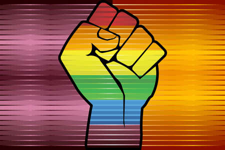 Shiny LGBT Protest Fist on a Rome Flag - Illustration,  Abstract grunge Rome Flag and LGBT flag Illusztráció