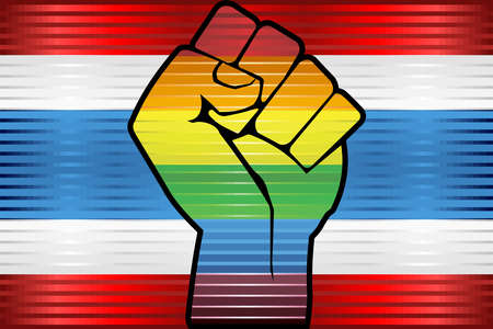 Shiny LGBT Protest Fist on a Thailand Flag - Illustration,  Abstract grunge Thailand Flag and LGBT flag Illustration