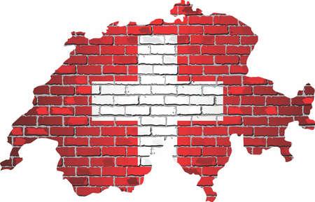 Shiny Switzerland map on a brick wall - Illustration, Map of the Switzerland with shiny flag inside