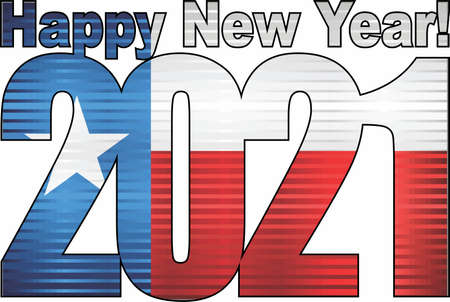 Happy New Year 2021 with Texas flag inside - Illustration, 2021 HAPPY NEW YEAR NUMERALS,  2021 Texas Flag Numbers