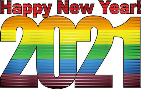 Happy New Year 2021 with LGBT flag inside - Illustration, 2021 HAPPY NEW YEAR NUMERALS,  2021 Rainbow flag Numbers