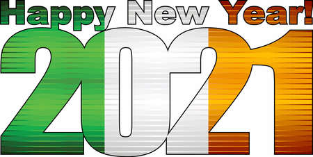 Happy New Year 2021 with United Kingdom flag inside - Illustration, 2021 HAPPY NEW YEAR NUMERALS,  2021 Great Britain Flag Numbers 矢量图像
