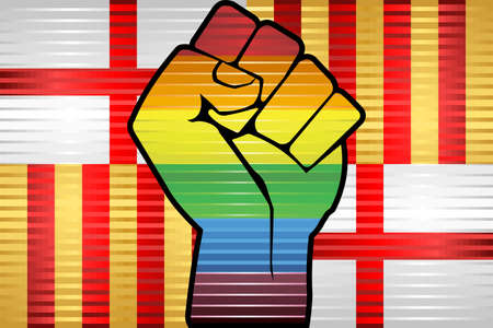 Shiny LGBT Protest Fist on a Barcelona Flag - Illustration,  Abstract grunge Barcelona Flag and LGBT flag