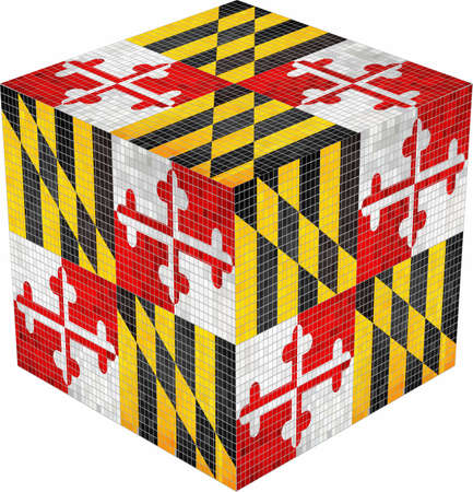 Maryland Cube - Illustration,  Abstract grunge mosaic flag of Maryland Иллюстрация