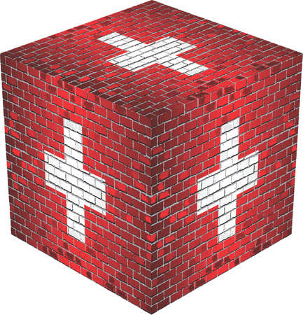 Switzerland Cube in made of bricks on white
