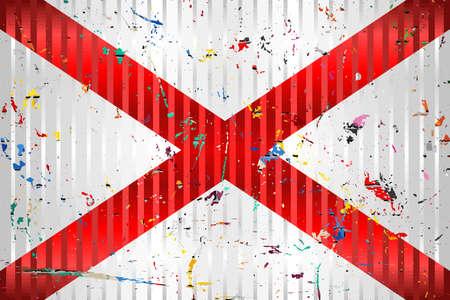 Alabama flag with color stains - Illustration,  Three dimensional flag of Alabama 向量圖像
