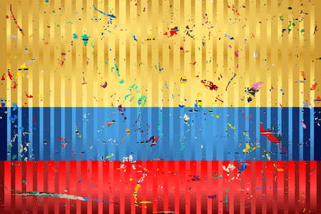 Colombia flag with color stains - Illustration,  Three dimensional flag of Colombia