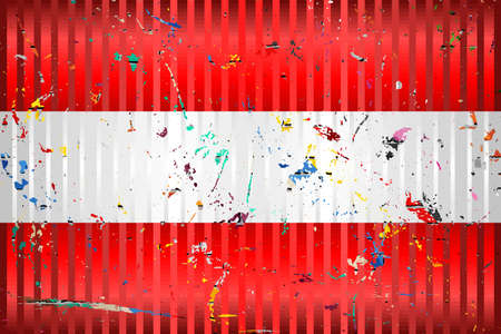 Austria flag with color stains - Illustration,  Three dimensional flag of Austria