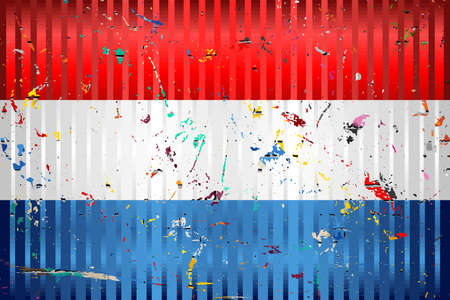 Netherlands flag with color stains - Illustration,  Three dimensional flag of Netherlands