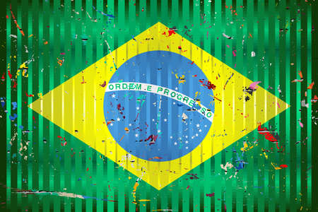 Brazil flag with color stains - Illustration,  Three dimensional flag of Brazil
