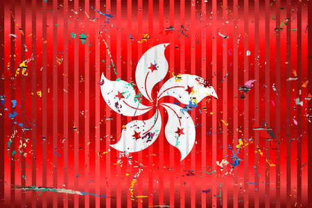 Hong Kong flag with color stains - Illustration,  Three dimensional flag of Hong Kong