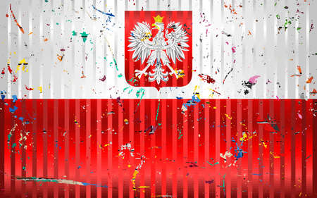 Poland flag with color stains - Illustration,  Three dimensional flag of Poland 向量圖像
