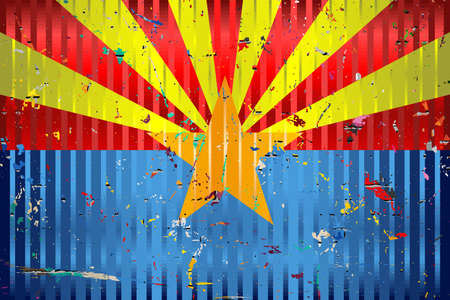 Arizona flag with color stains - Illustration,  Three dimensional flag of Arizona Stock Illustratie