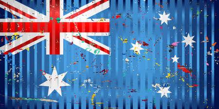 Australia flag with color stains - Illustration,  Three dimensional flag of Australia