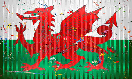 Wales flag with color stains - Illustration,  Three dimensional flag of Wales