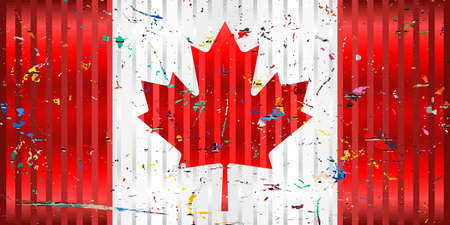 Canada flag with color stains - Illustration,  Three dimensional flag of Canada