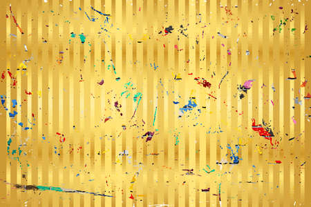 Gold background with color stains - Illustration,  Three dimensional grunge background
