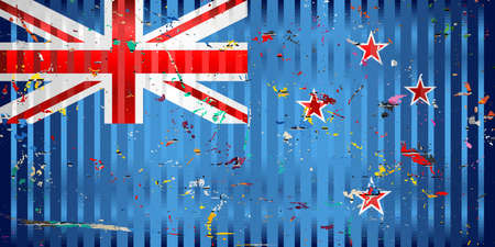 New Zealand flag with color stains - Illustration,  Three dimensional flag of New Zealand