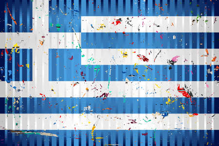 Greece flag with color stains - Illustration,  Three dimensional flag of Greece