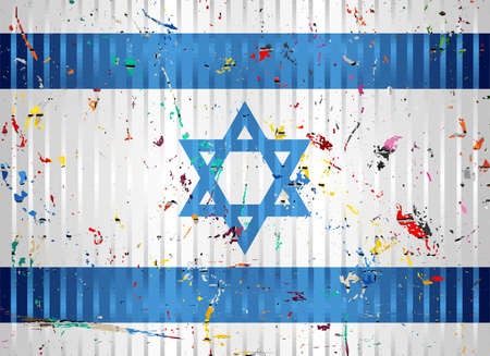 Israel flag with color stains - Illustration,  Three dimensional flag of Israel