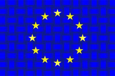 European Union Flag Background - Illustration,  Three dimensional flag of European Union