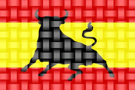 Spain Flag with an Osborne bull - Illustration,  Three dimensional flag of Spain 向量圖像