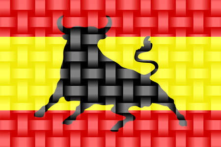 Spain Flag with an Osborne bull - Illustration,  Three dimensional flag of Spain Stock Illustratie
