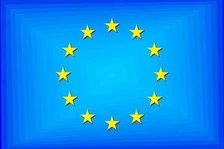 European Union Gradient Flag - Illustration,  Three Dimensional flag of European Union Stock Illustratie