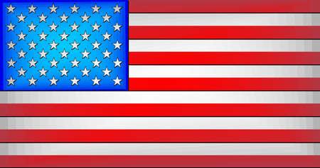 USA Gradient Flag - Illustration,  Three dimensional flag of USA