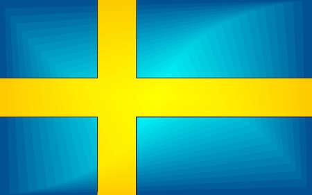 Sweden Gradient Flag - Illustration,  Three dimensional flag of Sweden