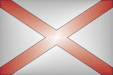 Alabama Gradient Flag - Illustration,  Three dimensional flag of Alabama 向量圖像