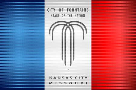 Shiny Grunge flag of the Kansas City - Illustration,  Three dimensional flag of Kansas City