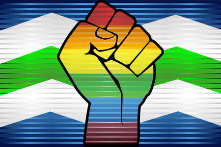 Shiny LGBT Protest Fist on a Burlington - Illustration,  Abstract grunge Burlington and LGBT flag 向量圖像