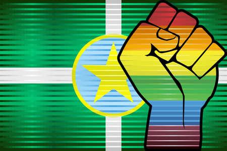 Shiny LGBT Protest Fist on a Jackson - Illustration,  Abstract grunge Jackson and LGBT flag